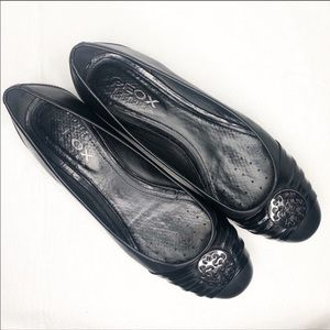 Geox Respira Black Flats with Silver Accents